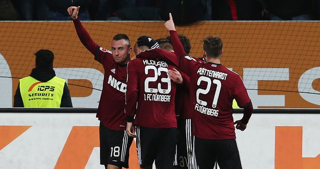 Josip Drmic of Nuernberg celebrates with team mates