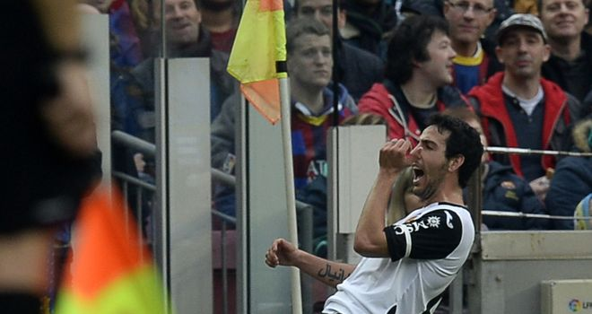 Daniel Parejo celebrates his goal for Valencia
