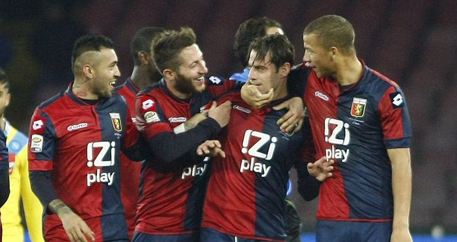 Genoa and Emanuele Calaio celebrate their late equaliser
