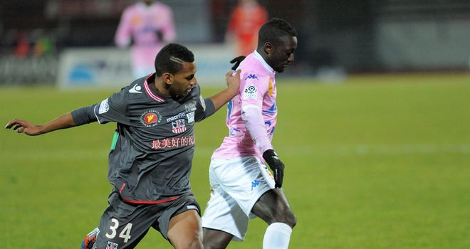 Evian's Yousouf Sabali vies with Ajaccio's Nordine Yahya