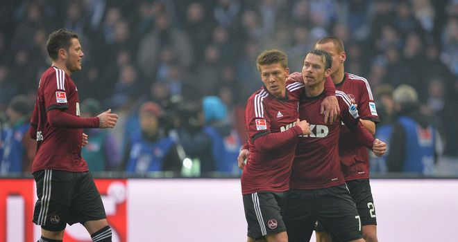 Markus Feulner celebrates his goal for Nurnberg