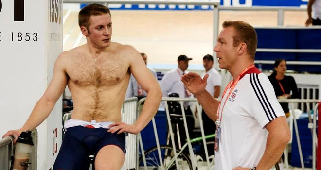 Sir Chris Hoy chats to Jason Kenny at the Track Cycling World Championships in Colombia