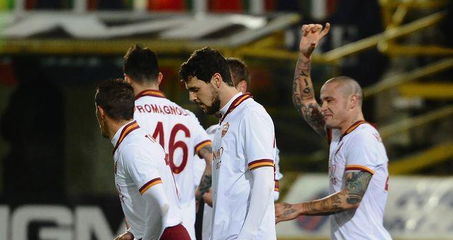 Radja Nainggolan celebrates his first goal in a Roma shirt