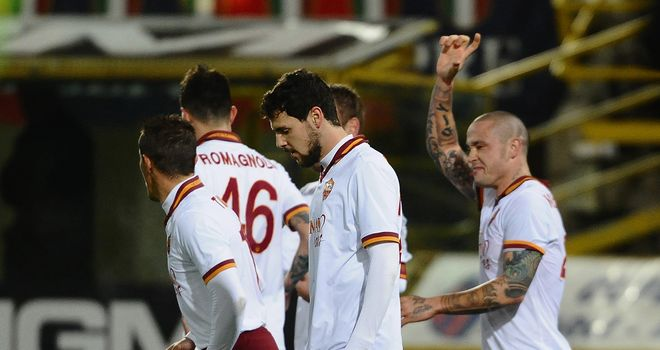 Radja Nainggolan celebrates his first goal in a Roma shirt