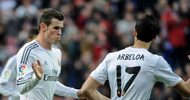 Gareth Bale celebrates his stunning goal