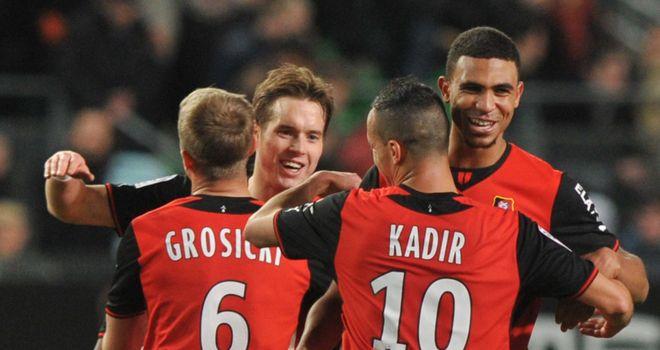 Rennes celebrate against Lyon