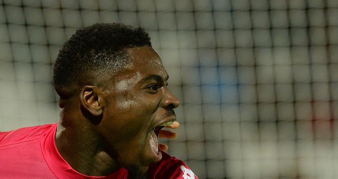 Serge Aurier celebrates his equaliser for Toulouse