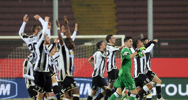 Udinese celebrate their victory