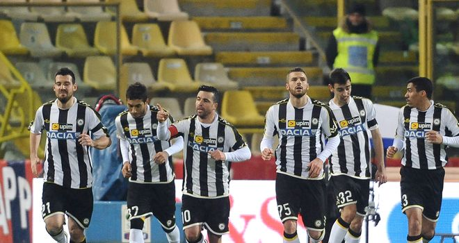 Udinese celebrate against Bologna