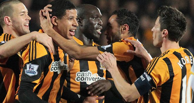 Curtis Davies: Hull defender celebrates his opener against Brighton