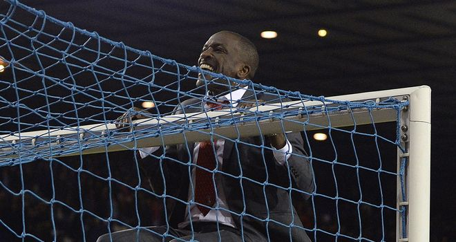 Chris Powell: Swung on the crossbar to celebrate with travelling fans