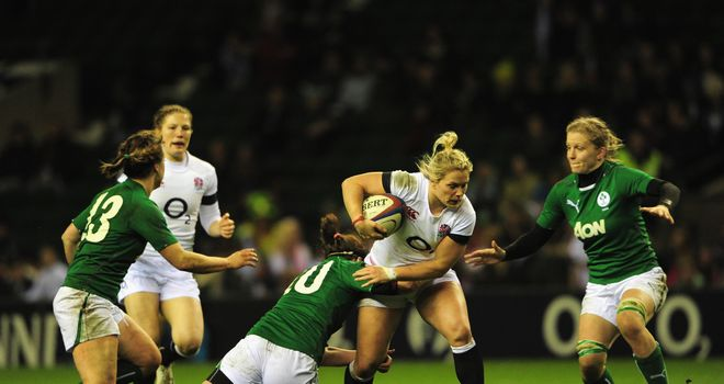 Rachel Burford tries to break through the Ireland defence