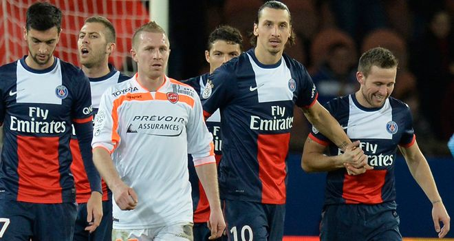 Zlatan Ibrahimovic: Celebrates his goal with Yohan Cabaye