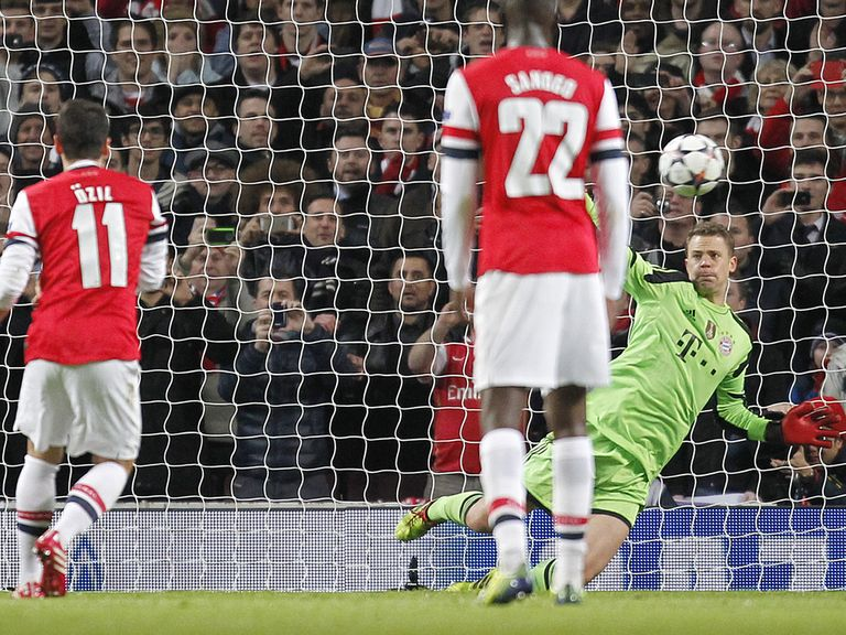 Mesut Ozil misses his penalty against Bayern Munich