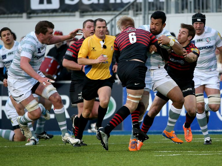 Ofisa Treviranus of London Irish takes on the Saracens defence