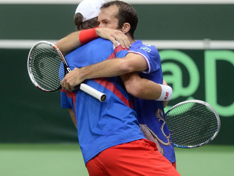 Radek Stepanek and Tomas Berdych celebrate their win