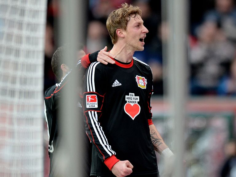 Stefan Kiessling celebrates for Leverkusen