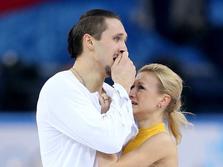 Trankov and Volosozhar struggle to hold back tears of joy