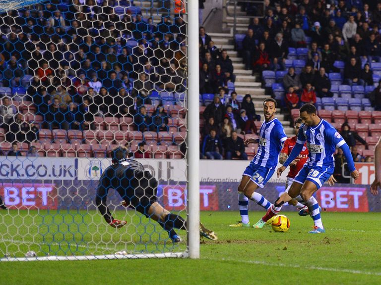 Nicky Maynard scored for Wigan on Tuesday night