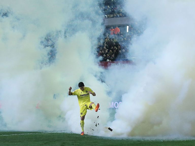 A smoke bomb was thrown onto the pitch at Villareal