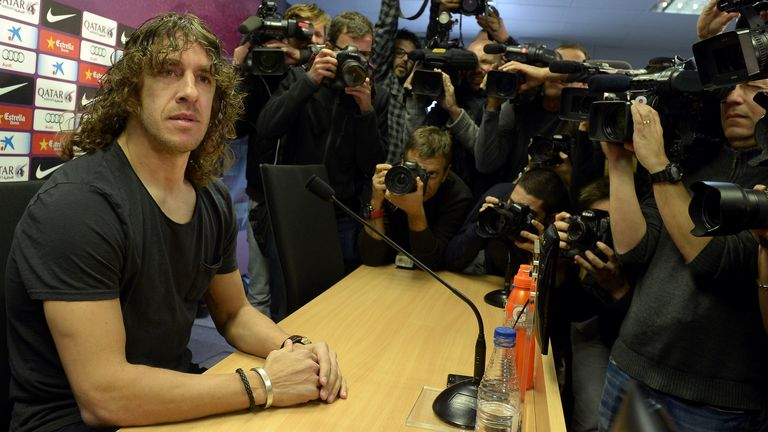 Carles Puyol: addresses the media