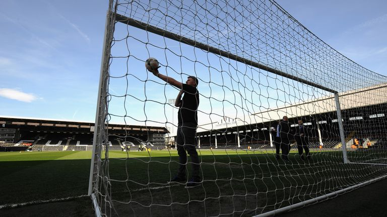 The Decision Review System being checked before Fulham v Newcastle on Saturday.