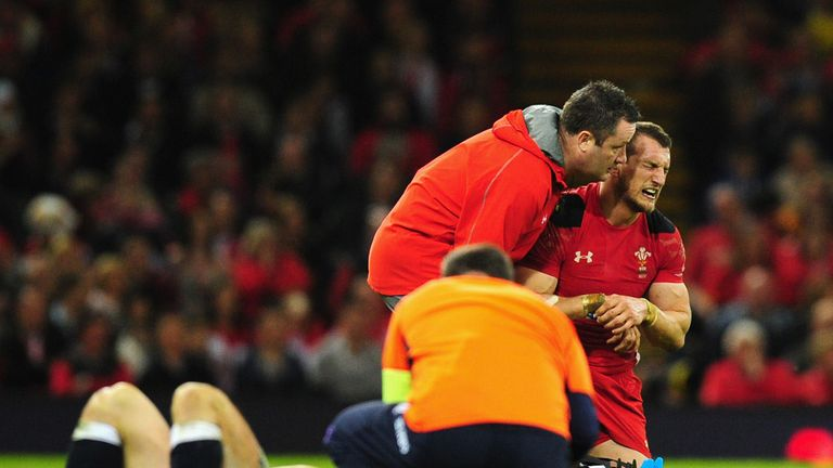 Sam Warburton: Is helped off against Scotland