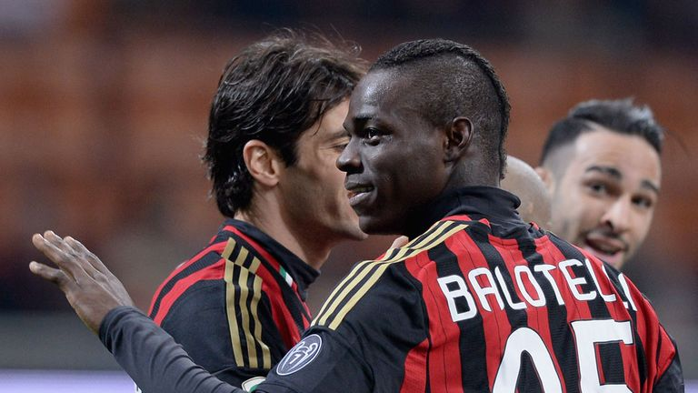 Mario Balotelli celebrates for AC Milan
