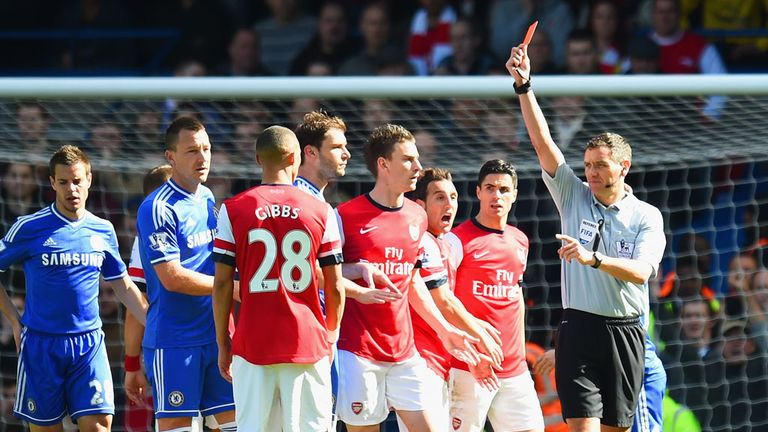 Andre Marriner wrongly dismissed Kieran Gibbs in Arsenal's defeat by Chelsea