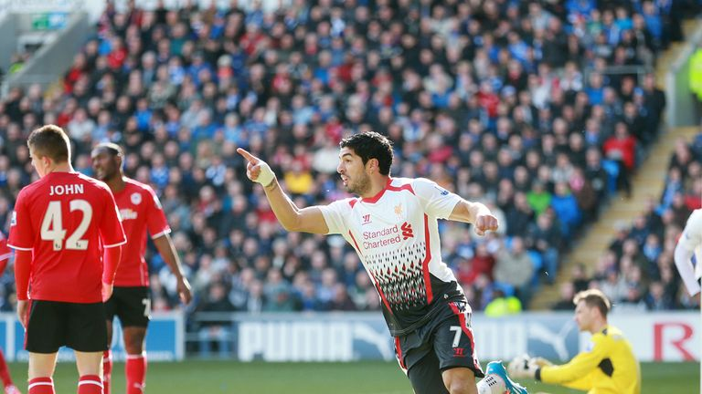 Luis Suarez: Celebrates against Cardiff City