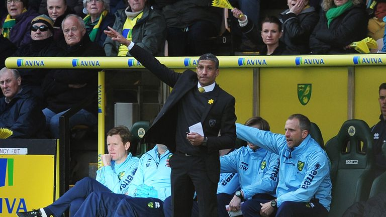 Chris Hughton: Sacked as Norwich boss with Neil Adams appointed