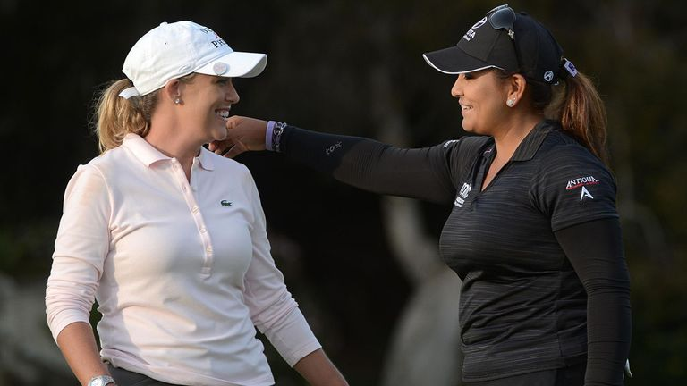 Cristie Kerr (l) and Lizette Salas at the end of Saturday's third round in California