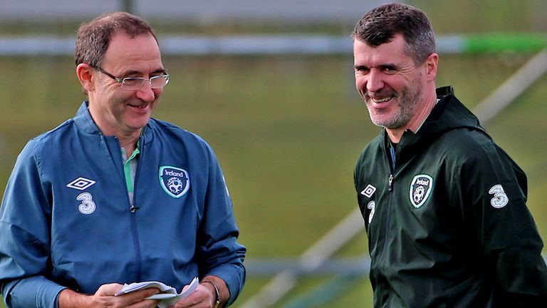 Martin O'Neill (l) feels Roy Keane's dual role will be of benefit to him