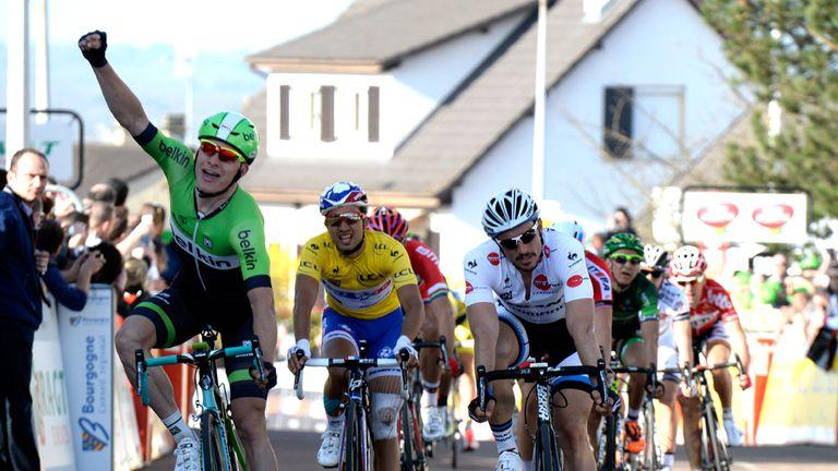 Moreno Hofland celebrates his sprint victory on stage two of Paris-Nice