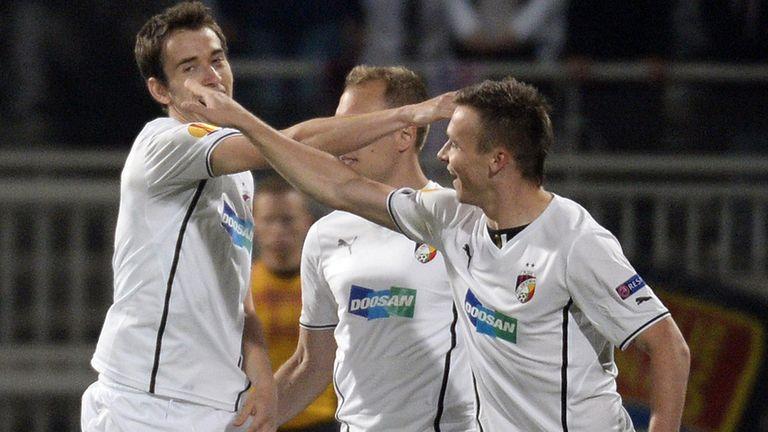 Viktoria Plzen: Celebrate their only goal in Lyon