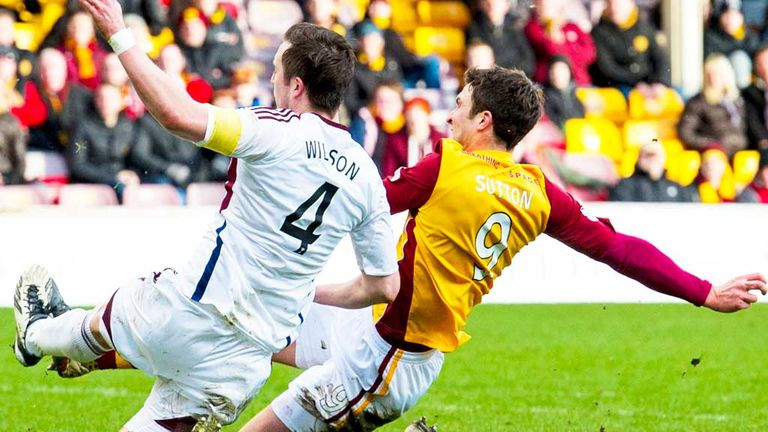 John Sutton: Scores Motherwell's third goal against Hearts at Fir Park