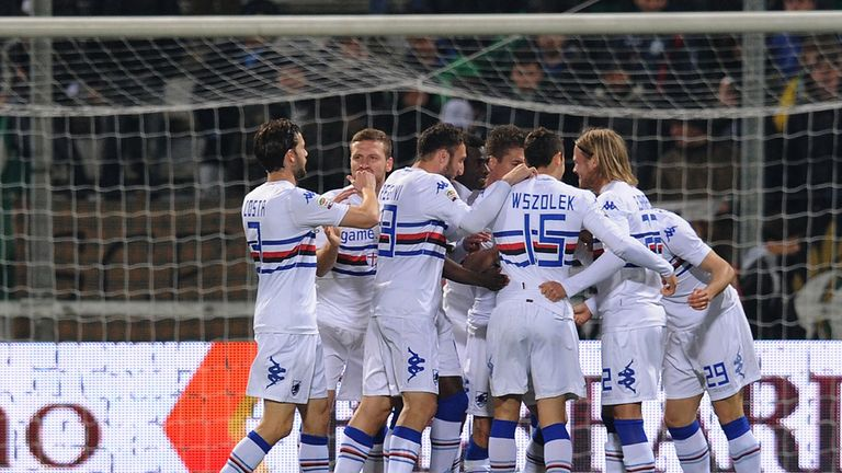 Gianluca Sansone of Sampdoria celebrates after scoring