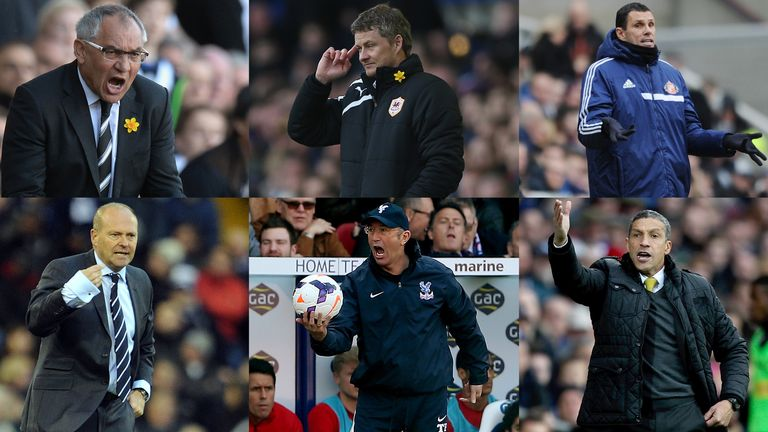 Six facing test: Felix Magath, Ole Gunnar Solskjaer, Gus Poyet, Pepe Mel, Tony Pulis and Chris Hughton battling to keep their teams in the Premier League