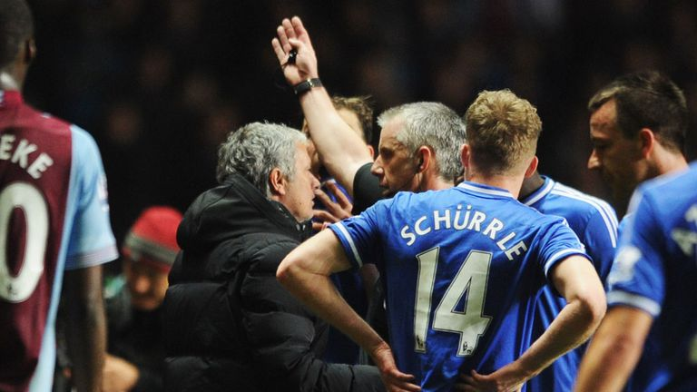 Jose Mourinho: Chelsea manager is sent to the stands by Chris Foy