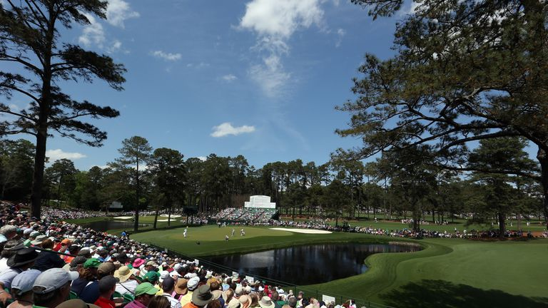 A general view of the par five 15th hole at Augusta National