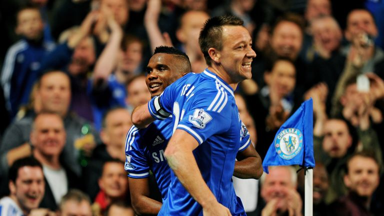 John Terry: Celebrates with Samuel Eto'o
