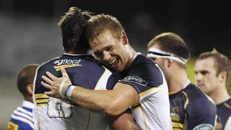 Jack Whetton of the Brumbies celebrates with team mate Ben Mowen