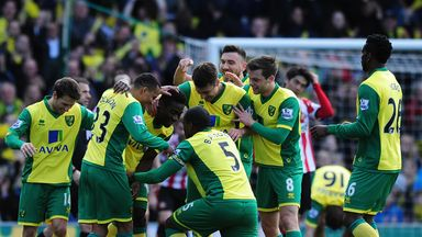 Alex Tettey is congratulated after his stunning volley against Sunderland