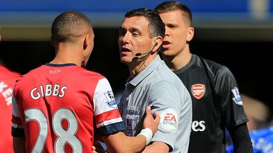 Referee Andre Marriner sent off Kieran Gibbs in a case of mistaken identity on Saturday.