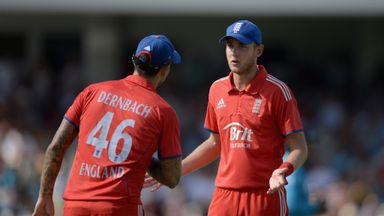 Stuart Broad (right): England T20 skipper requires knee injection
