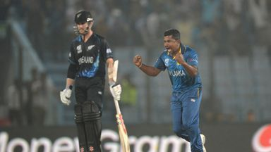 Rangana Herath: Sri Lanka spinner celebrates the wicket of Jimmy Neesham