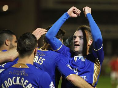 Leicester celebrate against Barnsley