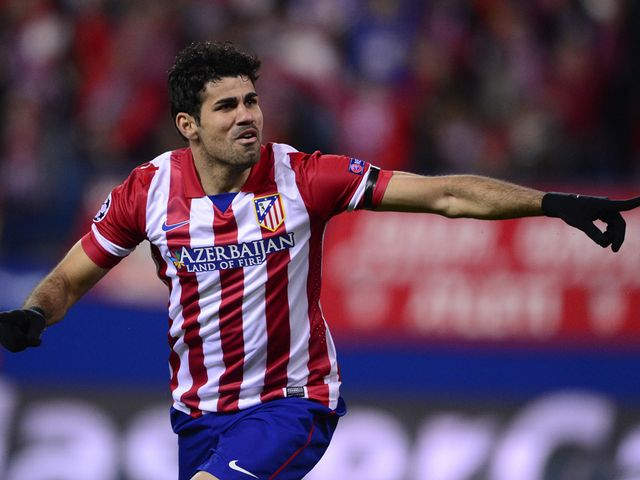 Diego Costa celebrates scoring for Atletico Madrid