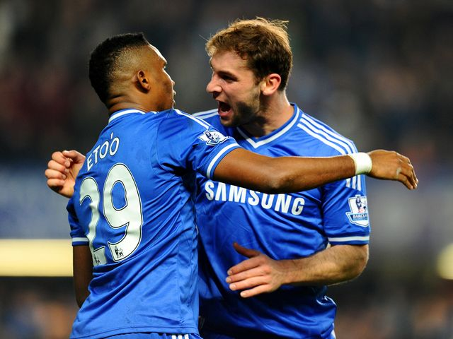Samuel Eto'o is congratulated by Branoslav Ivanovic
