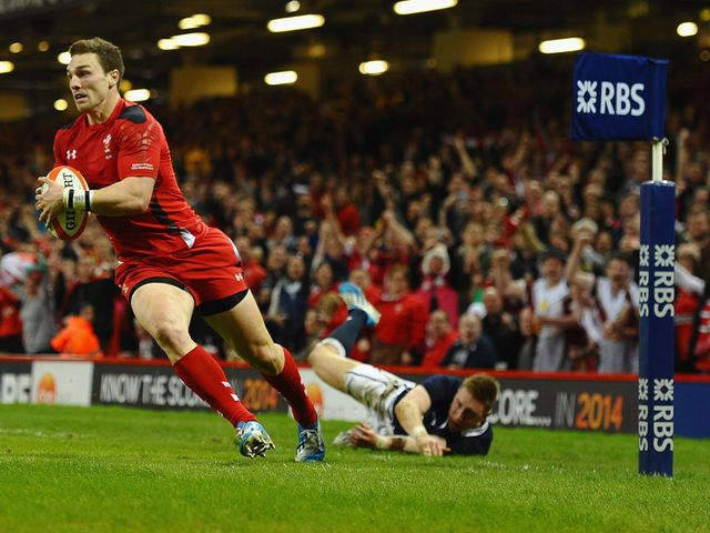George North goes in for a Wales try